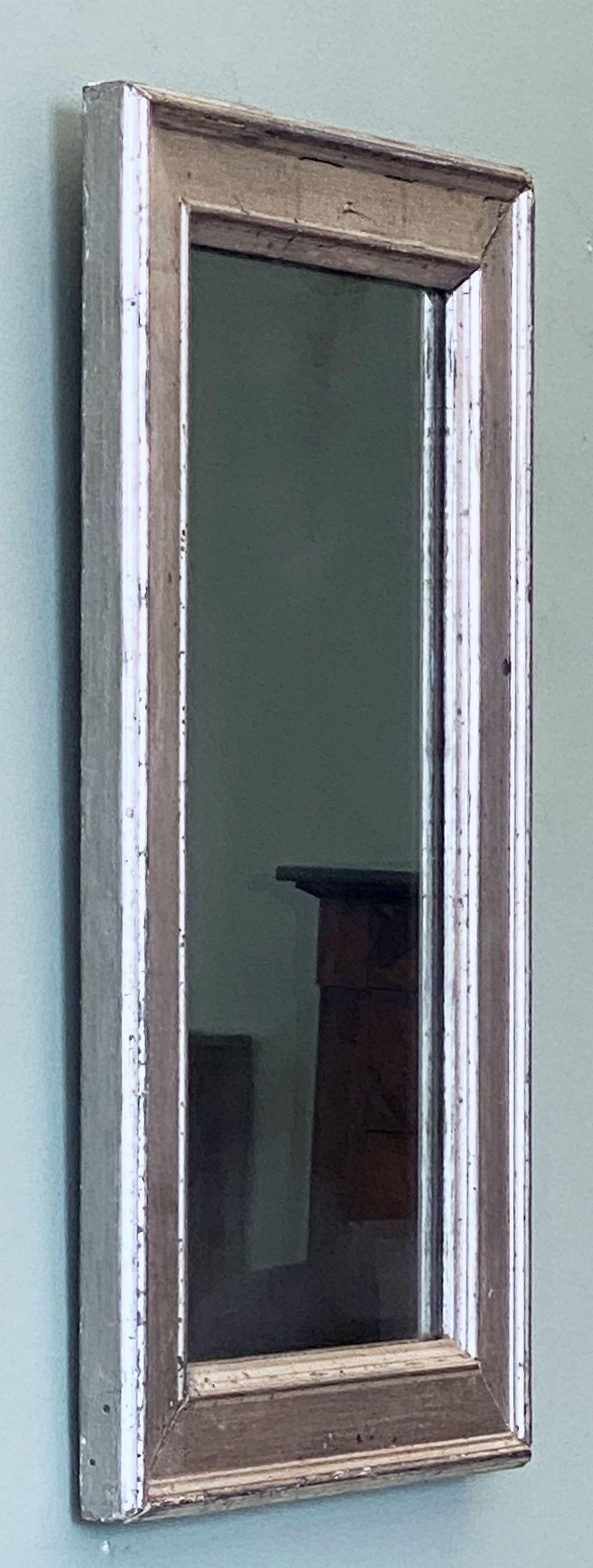 French Rectangular Silver Gilt Wall Mirror (H 19 1/2 x W 12 1/4) In Good Condition For Sale In Austin, TX