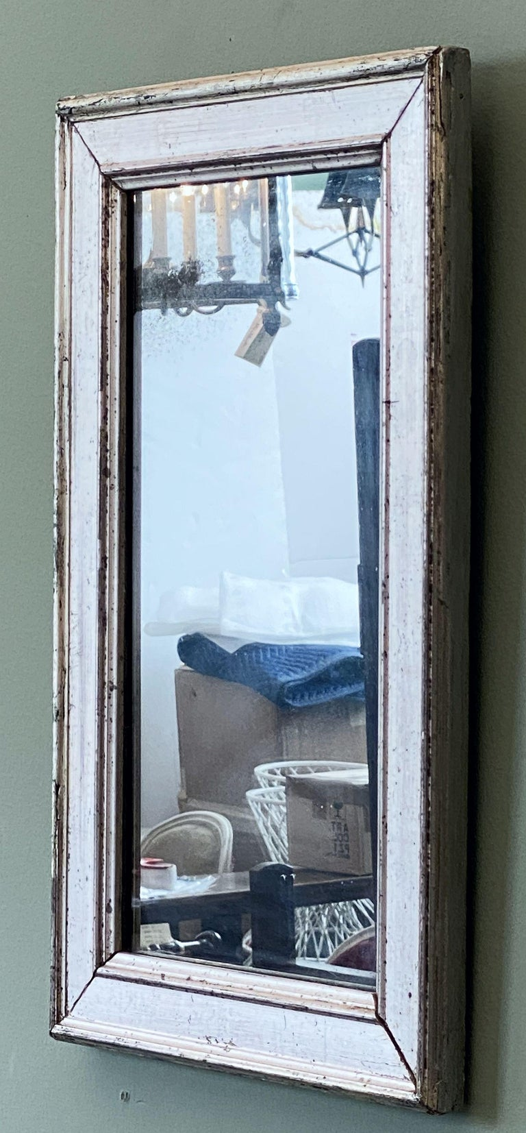 19th Century French Rectangular Silver Gilt Wall Mirror (H 19 1/2 x W 12 1/4) For Sale