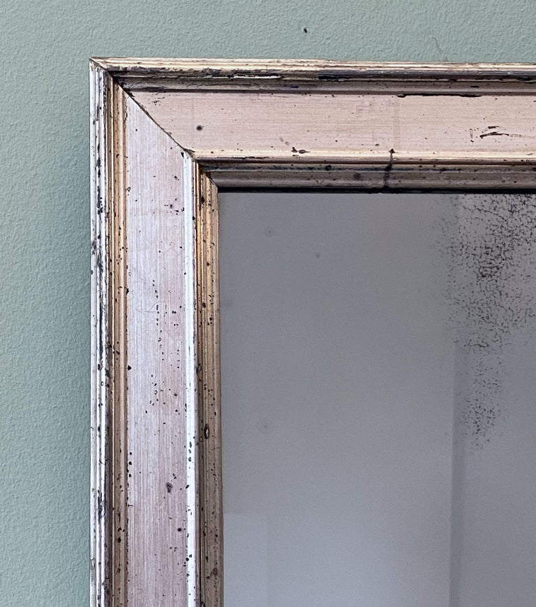 French Rectangular Silver Gilt Wall Mirror (H 19 1/2 x W 12 1/4) For Sale 1