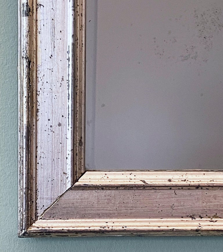French Rectangular Silver Gilt Wall Mirror (H 19 1/2 x W 12 1/4) For Sale 3