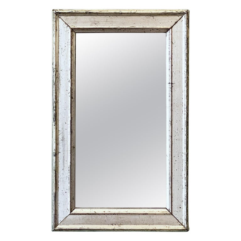 French Rectangular Silver Gilt Wall Mirror (H 19 1/2 x W 12 1/4) For Sale