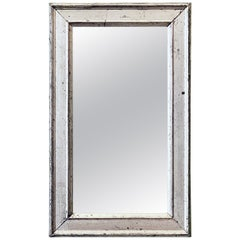 French Rectangular Silver Gilt Wall Mirror (H 19 1/2 x W 12 1/4)