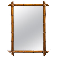 French Rectangular Walnut Faux Bamboo Mirror with Brown Patina