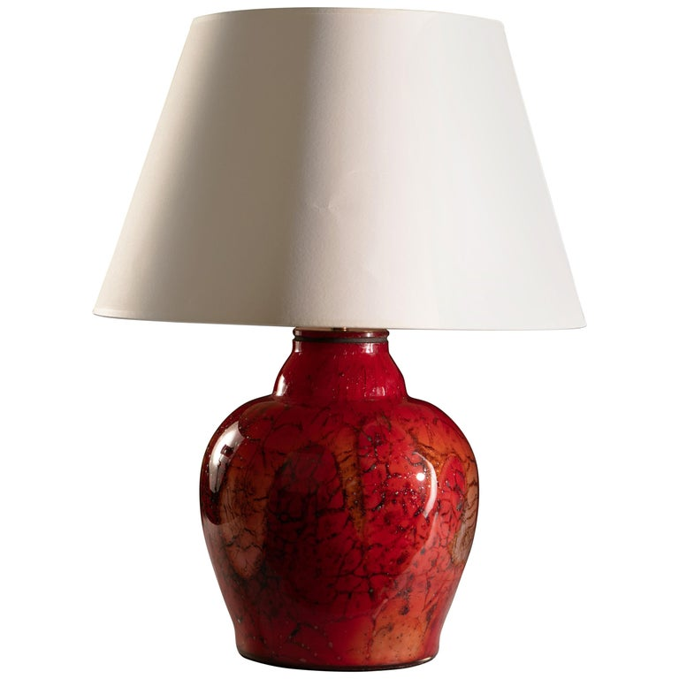 French Red Art Glass Vase as a Table Lamp For Sale