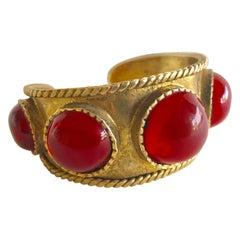 French Red Byzantine Gilt Statement Cuff Bracelet