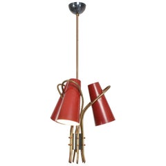 French Red Chandelier Style of Pierre Guariche Curved Triple Cone Lamp, 1950s