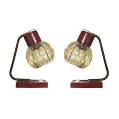 French Red Desk Lamps, 1950s, Set of 2