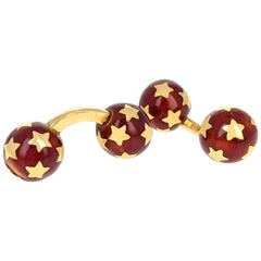 French Red Enamel Yellow Gold Star Cufflinks