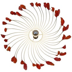 French Red Feathers Chandelier