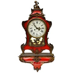 French Red Lacquer Mantle Clock on Wall Bracket, Signed GRIBELIN