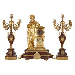 French Red Marble and Gilt Bronze Neoclassical Style Matched Clock Set