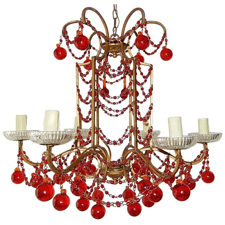 Red Murano Chandelier: French Red Murano Ball And Chains Chandelier, Circa 1940