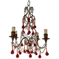 French Red Murano Ball Drops Chandelier, circa 1920