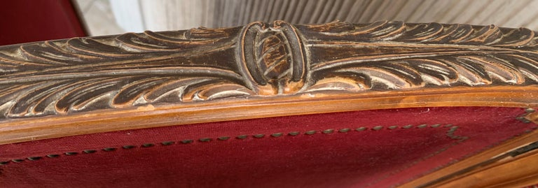 20th Century French Red Velvet Three-Panel Screen Adorned with Antique Brass Tacks For Sale