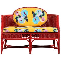 French Red Wicker Settee in Lisa Corti Floral Fabric