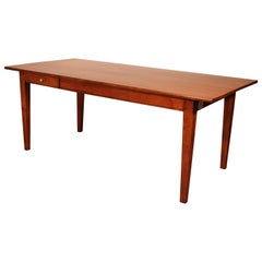 French Refectory Table with Two Drawers from the 19th Century in Cherry Wood-Fra