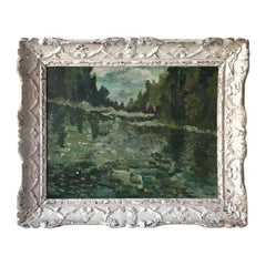 French Reflective Landscape with Ornate Frame