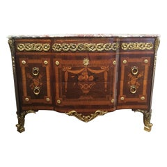 French Regence Marquetry Commode 19th Century with Fine Bronze Dore Mounts