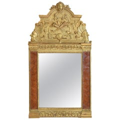 French Regence Period Carved Giltwood and Walnut Parquet Decorated Mirror