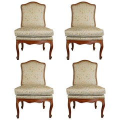 French Regence Period, Set of Four Large Slipper Chairs in Walnut, circa 1730