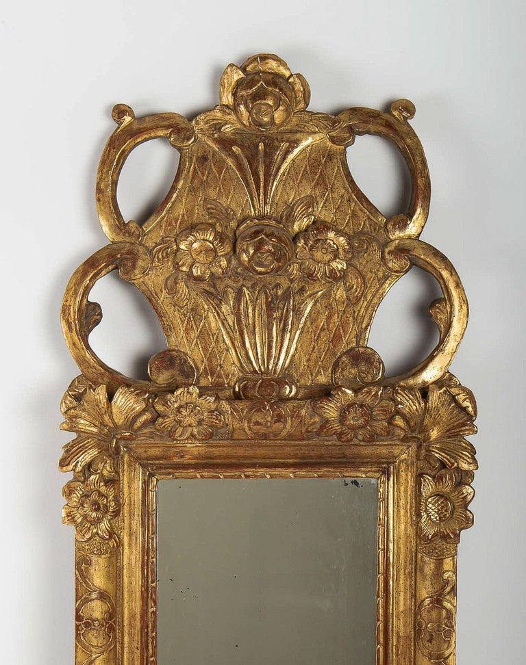 Régence French Regence Provencal Period, Small Giltwood Top-Front Mirror, circa 1720 For Sale