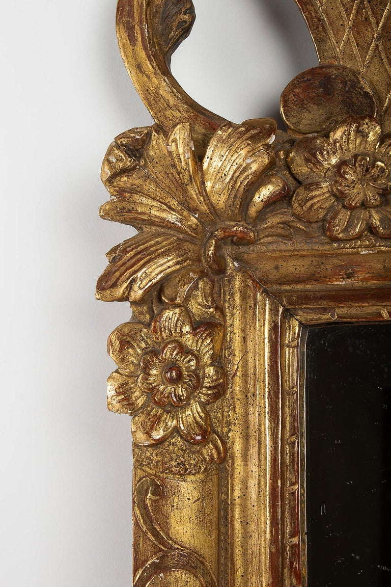 18th Century French Regence Provencal Period, Small Giltwood Top-Front Mirror, circa 1720 For Sale
