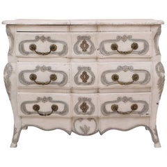 French Regence Provinical Bombe Commode Carved and Paint Decorated, 18th Century