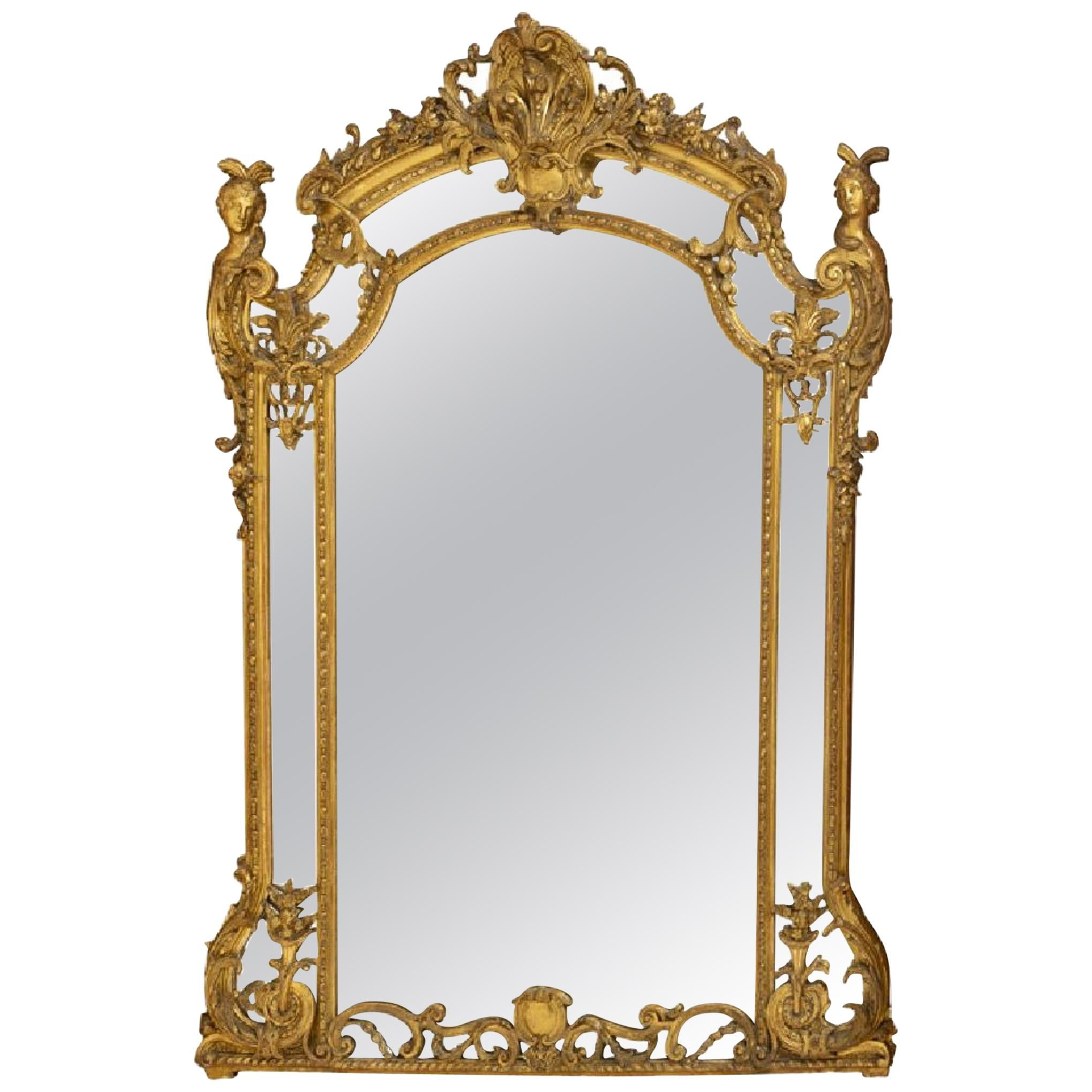 French Regence Style Gilded Figural Mirror, 19th Century