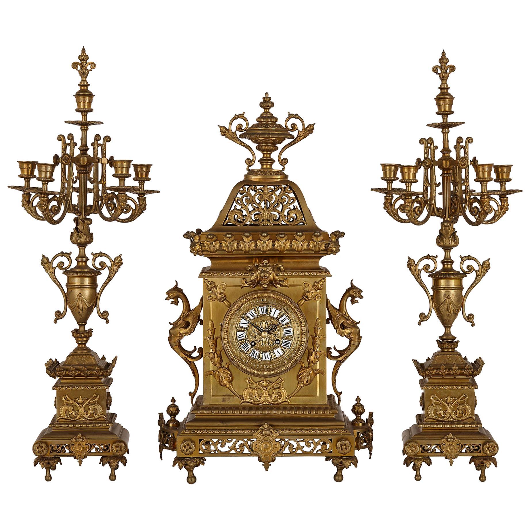 French Régence Style Gilt Bronze Clock Garniture