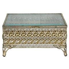 French Regency Brass Filigree Jewelry Casket Trinket Box with Beveled Glass