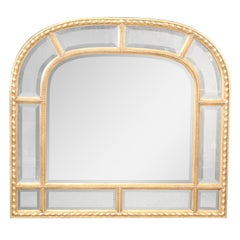 French Regency Carved Gilded Beveled Glass Mantle Buffet Mirror Decorative Arts