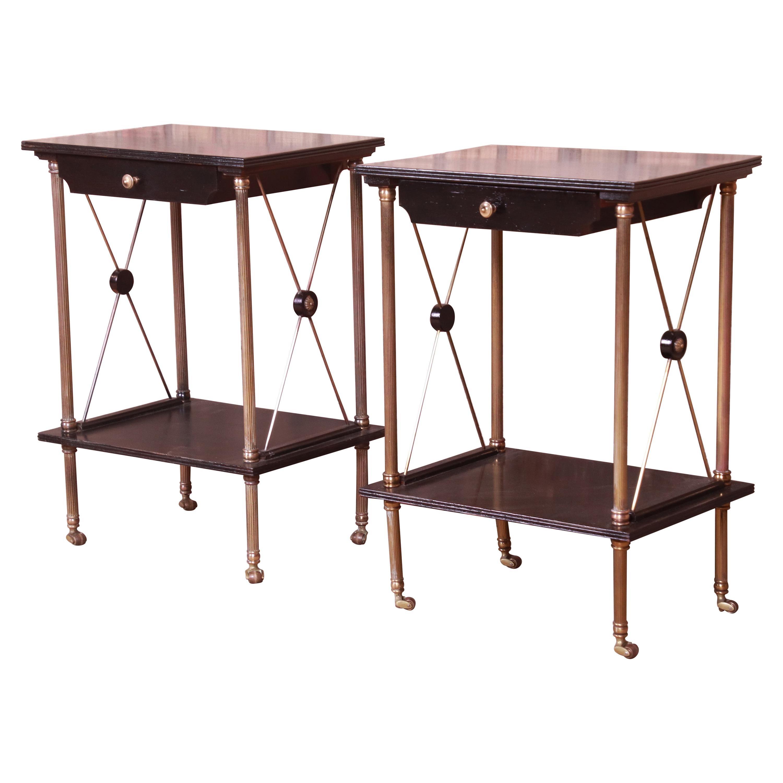 French Regency Ebonized Mahogany and Brass Bedside Tables, Circa 1940s