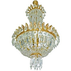French Regency Empire Basket Gilt Bronze Chandelier, Cut Crystal