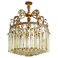 French Regency Empire Louis XVI 4-Light Crystal and Bronze Cherub Chandelier
