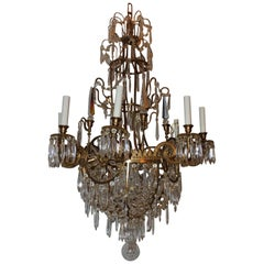 French Regency Empire Neoclassical Baltic Six-Light Bronze Crystal Chandelier