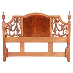 French Regency Flame Mahogany Queen Size Headboard by Metz, 1960s
