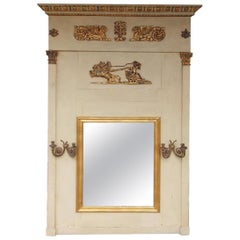 French Regency Gilt and Painted Trumeau Mirror with Flanking Gilt Sconces C 1780