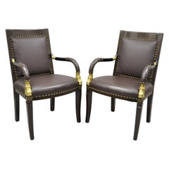 French Regency Italian Style Brown Leather Dolphin Carved Arm Chairs, a Pair