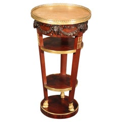 French Regency Rams Head Carved Walnut Marble and Brass End Table, circa 1890