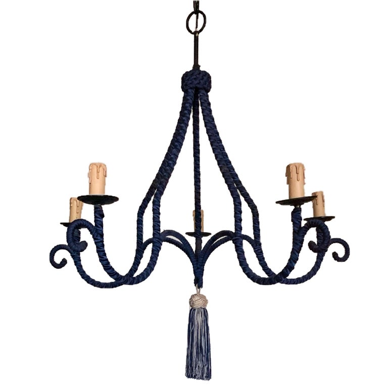 French Regency silk-wrapped navy blue tassel chandelier 5-arm fixture modernist pendant fixture with original candle sockets and braided tassel. Labelled. Made in France.