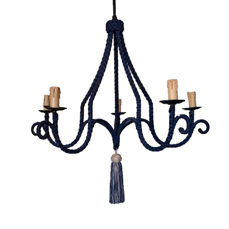 French Regency Silk-Wrapped Navy Blue Tassel Chandelier 5-Arm Fixture Modern In Distressed Condition For Sale In Brooklyn, NY