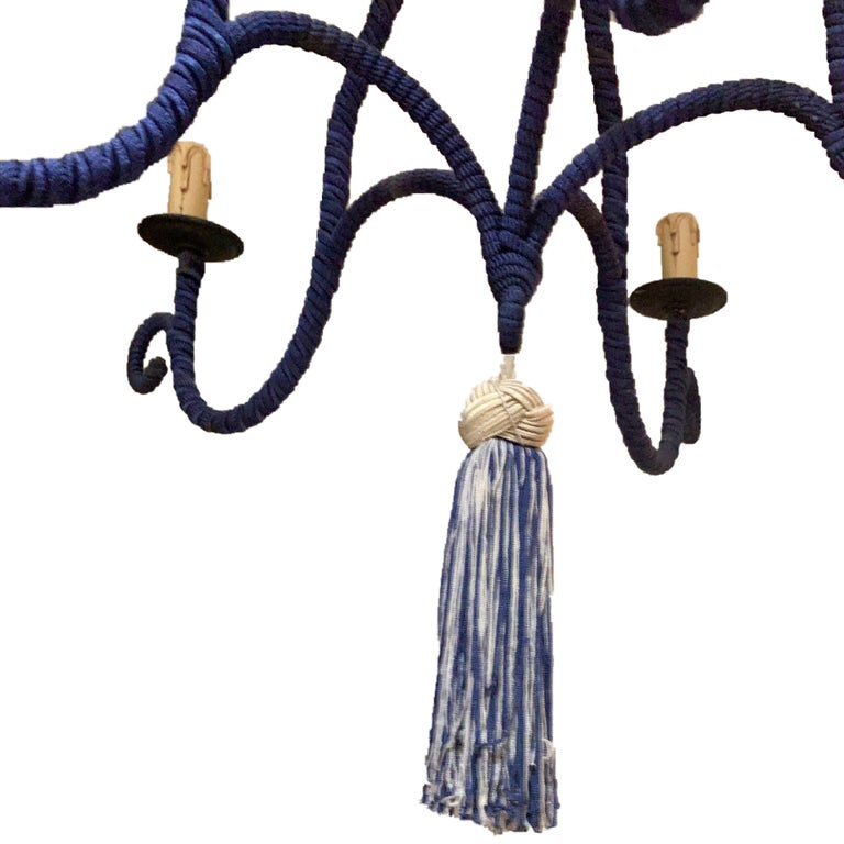 20th Century French Regency Silk-Wrapped Navy Blue Tassel Chandelier 5-Arm Fixture Modern For Sale