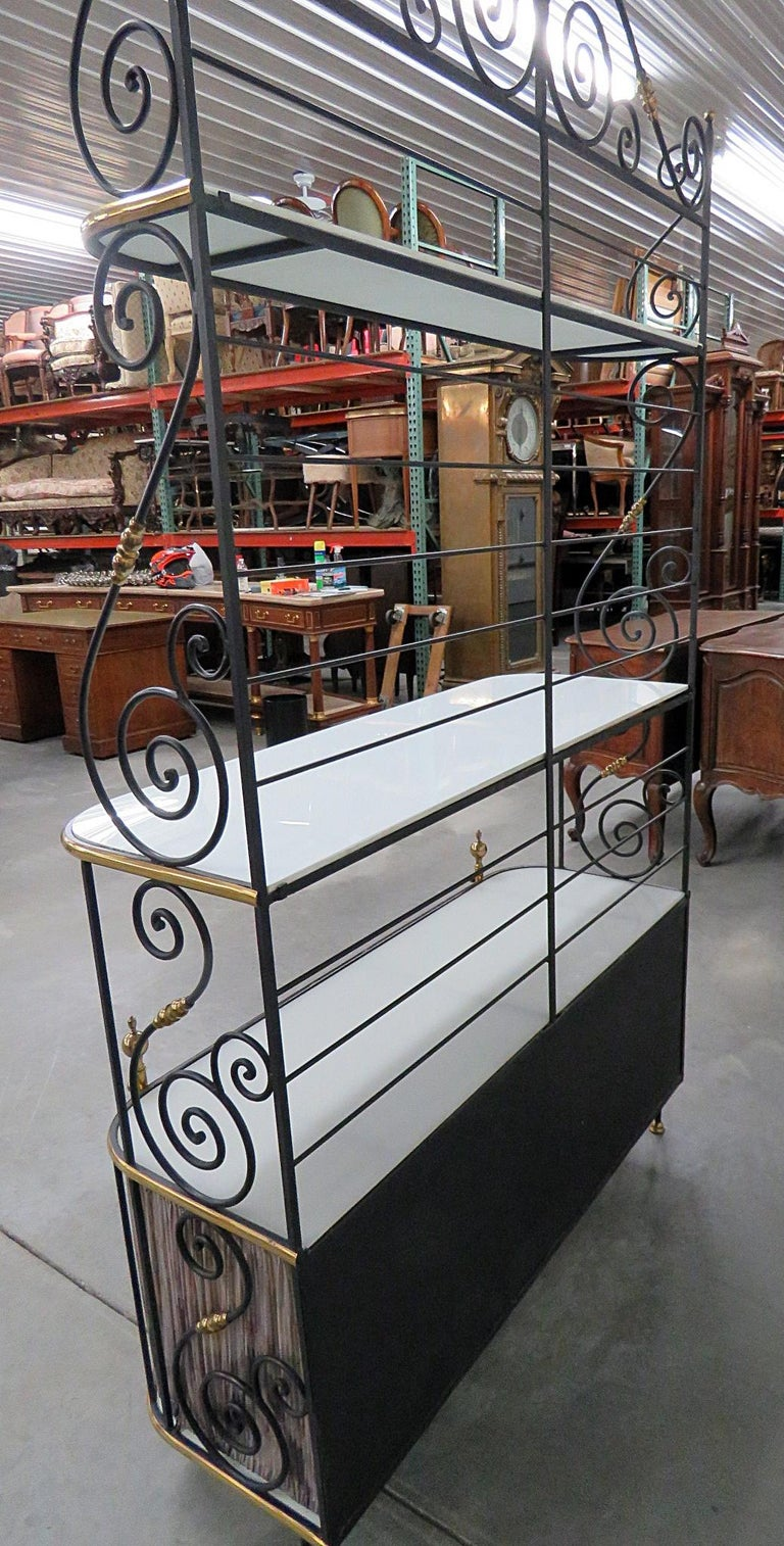 Steel and Brass Ebonized French Regency Style Bakers Rack For Sale 5
