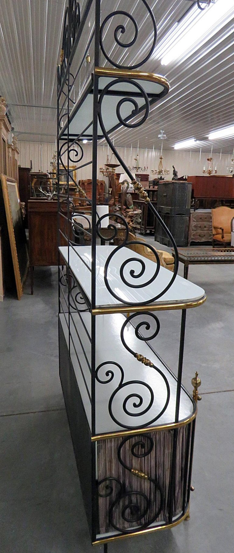Steel and Brass Ebonized French Regency Style Bakers Rack For Sale 4
