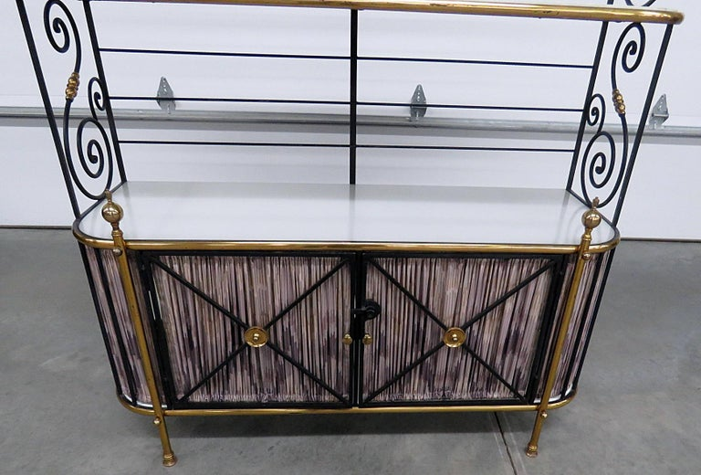 20th Century Steel and Brass Ebonized French Regency Style Bakers Rack For Sale