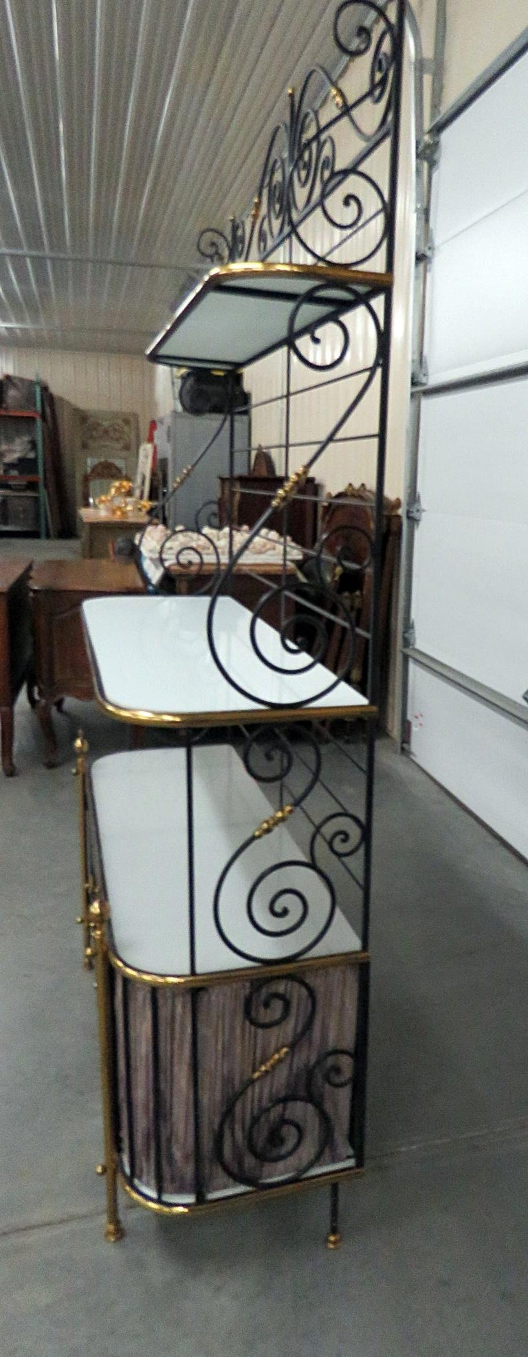 Steel and Brass Ebonized French Regency Style Bakers Rack For Sale 6