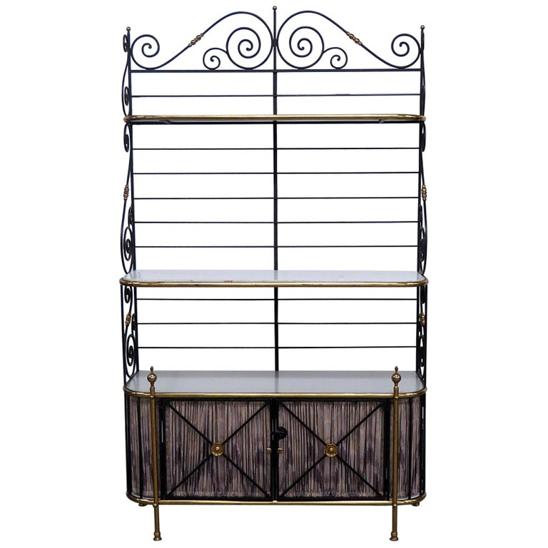 Steel and Brass Ebonized French Regency Style Bakers Rack For Sale