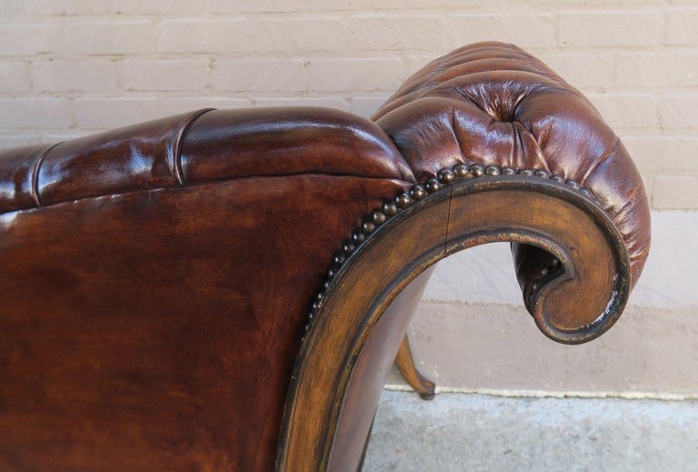French Regency Style Carved Leather Tufted Sofa, circa 1920s For Sale 6