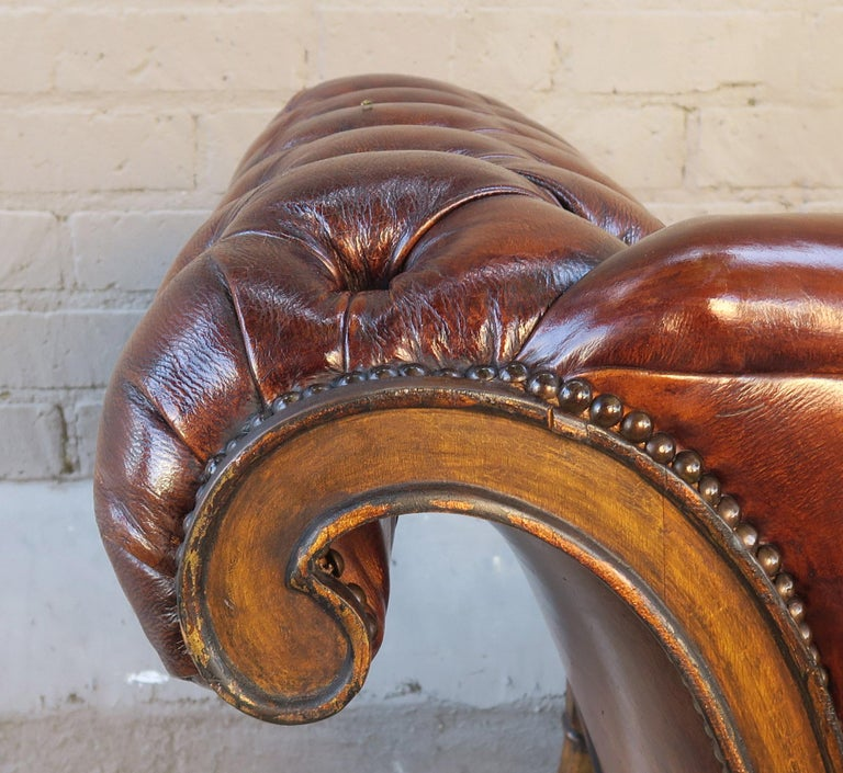 French Regency Style Carved Leather Tufted Sofa, circa 1920s For Sale 7