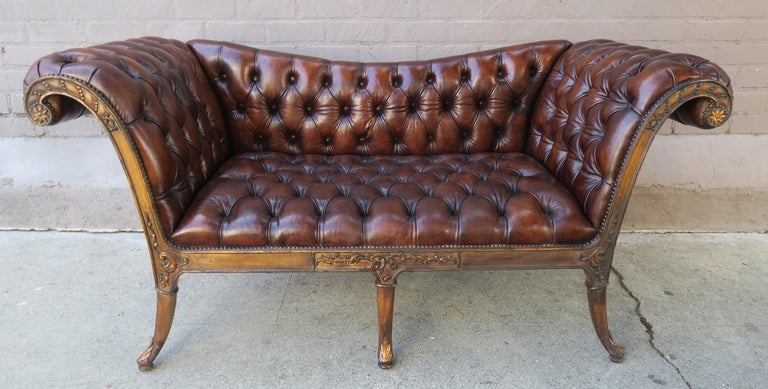 French Regency Style Carved Leather Tufted Sofa, circa 1920s For Sale 9